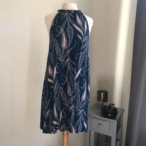 Loft halter ruffle neck swing dress.  Size L